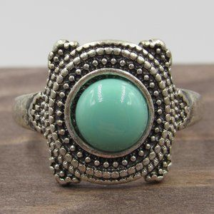 Size 7 Silver Tone Blue Green Faux Stone Band Ring
